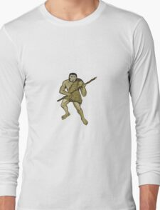 Neanderthal Man Holding Spear Etching Long Sleeve T-Shirt