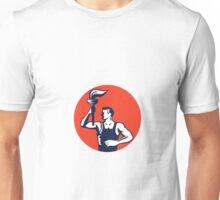 Worker Holding Up Flaming Torch Circle Woodcut Unisex T-Shirt