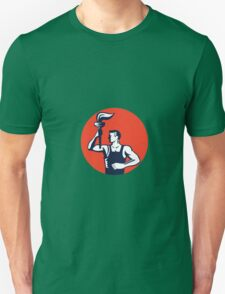 Worker Holding Up Flaming Torch Circle Woodcut T-Shirt