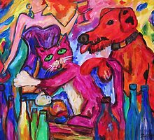 Pink Puss And Red Dog by Dianne Connolly