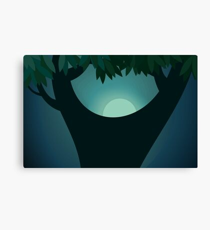Beauty of a tree in the moon light Canvas Print