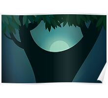 Beauty of a tree in the moon light Poster