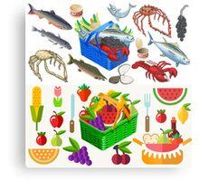 Food Set Fish, Vegetables and Fruit Metal Print