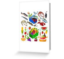 Food Set Fish, Vegetables and Fruit Greeting Card