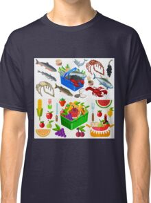Food Set Fish, Vegetables and Fruit Classic T-Shirt