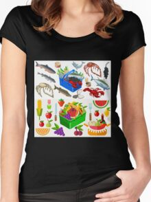 Food Set Fish, Vegetables and Fruit Women's Fitted Scoop T-Shirt
