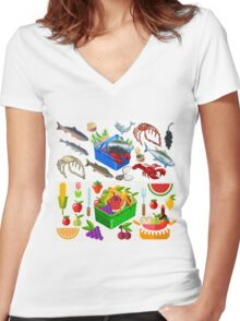 Food Set Fish, Vegetables and Fruit Women's Fitted V-Neck T-Shirt