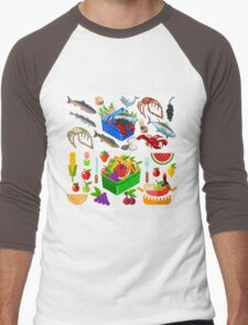 Food Set Fish, Vegetables and Fruit Men's Baseball ¾ T-Shirt