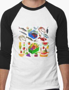 Food Set Fish, Vegetables and Fruit Men's Baseball ¾ T-Shirt