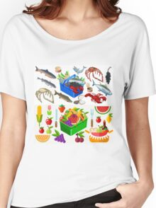 Food Set Fish, Vegetables and Fruit Women's Relaxed Fit T-Shirt