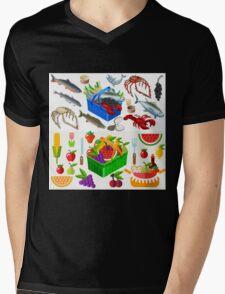 Food Set Fish, Vegetables and Fruit Mens V-Neck T-Shirt
