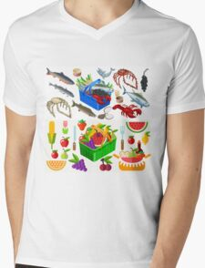 Food Set Fish, Vegetables and Fruit Mens V-Neck T-Shirt