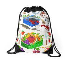 Food Set Fish, Vegetables and Fruit Drawstring Bag