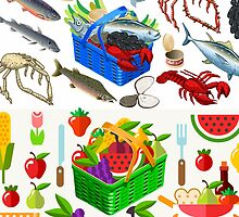 Food Set Fish, Vegetables and Fruit by aurielaki
