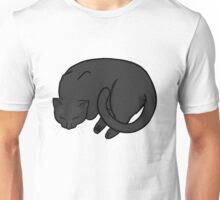 Sleeping Cat - Black Unisex T-Shirt