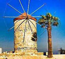 Ancient windmill in Rhodes by Ingvar Bjork Photography