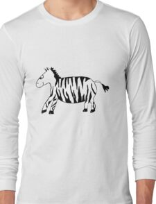 Black and White Striped Handpainted Zebra Long Sleeve T-Shirt