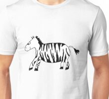 Black and White Striped Handpainted Zebra Unisex T-Shirt