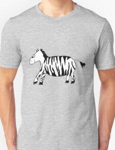 Black and White Striped Handpainted Zebra Unisex T-Shirt