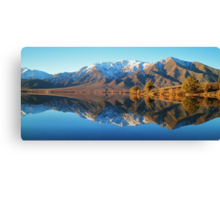 """evening glow""  lake benmore, south island, new zealand Canvas Print"