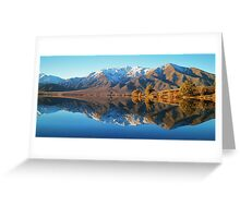 """evening glow""  lake benmore, south island, new zealand Greeting Card"