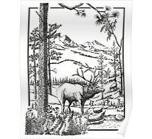 The Elk Bugle- Pen & Ink Poster