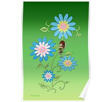 Button Flower .. the little green fairy Poster