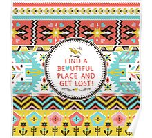 Decorative bright pattern in aztec style Poster