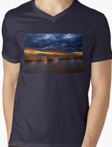 Sunset at the marshlands of Aliakmonas river Mens V-Neck T-Shirt
