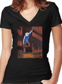 End Of The Trail, The Painting Women's Fitted V-Neck T-Shirt