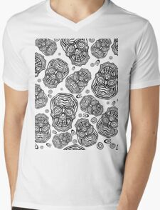 Halloween and day of the dead black scull Mens V-Neck T-Shirt
