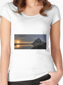 sunset at Mont Saint Michel Women's Fitted Scoop T-Shirt