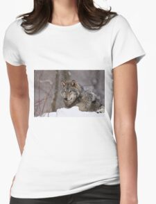 Timberwolf in Winter Womens Fitted T-Shirt