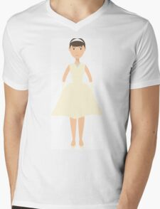 Cute pretty bride in a wedding dress. The style of Audrey Hepburn. Style icon. Fleta icon bride. Mens V-Neck T-Shirt