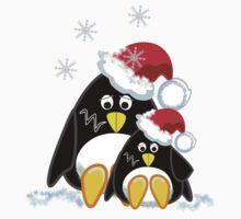 Cute Penguins Christmas Tee by walstraasart