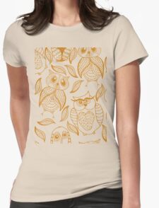 Four different brown owls Womens Fitted T-Shirt