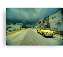 Yellow storm car  Canvas Print