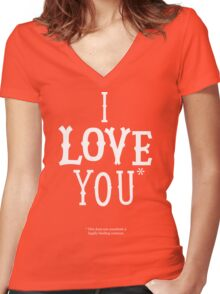 I Love You* Women's Fitted V-Neck T-Shirt