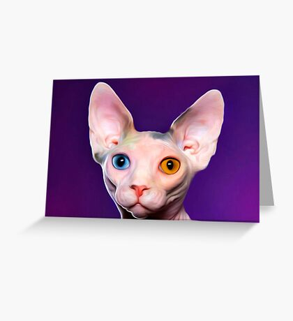 Sphynx Cat Oil Painting Mr Two Tone Greeting Card