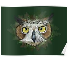 Great Horned Owl in Forest Poster