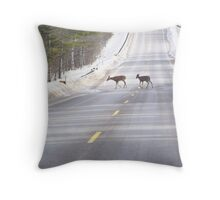 Deer crossing the road Throw Pillow