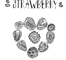 Strawberry black and white hand drawn vintage doodle illustration by sailorlun