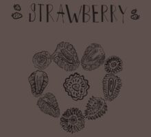 Strawberry black and white hand drawn vintage doodle illustration One Piece - Short Sleeve