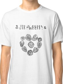 Strawberry black and white hand drawn vintage doodle illustration Classic T-Shirt