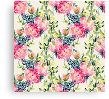 Watercolor peonies bouquet pattern Canvas Print