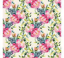 Watercolor peonies bouquet pattern Photographic Print