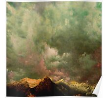 Cascades - in Green - Washington with clouds courtesy of Rinaldo Di Battista Poster