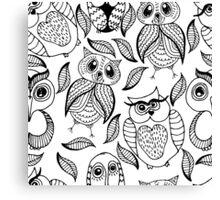 Four different black owls Canvas Print