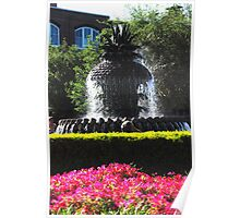Pineapple Fountain in Charlestons Waterfront Park Poster