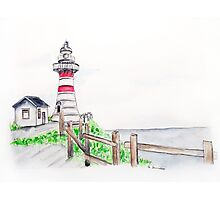 Lighthouse on a Hill Watercolour Landscape Painting Photographic Print